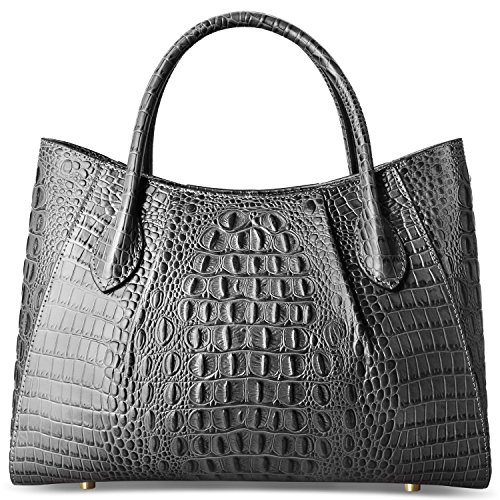 Handbags Top Crocodile Satchel Grey Leather Handle Bag Women Tote PIFUREN HBqInAxwA