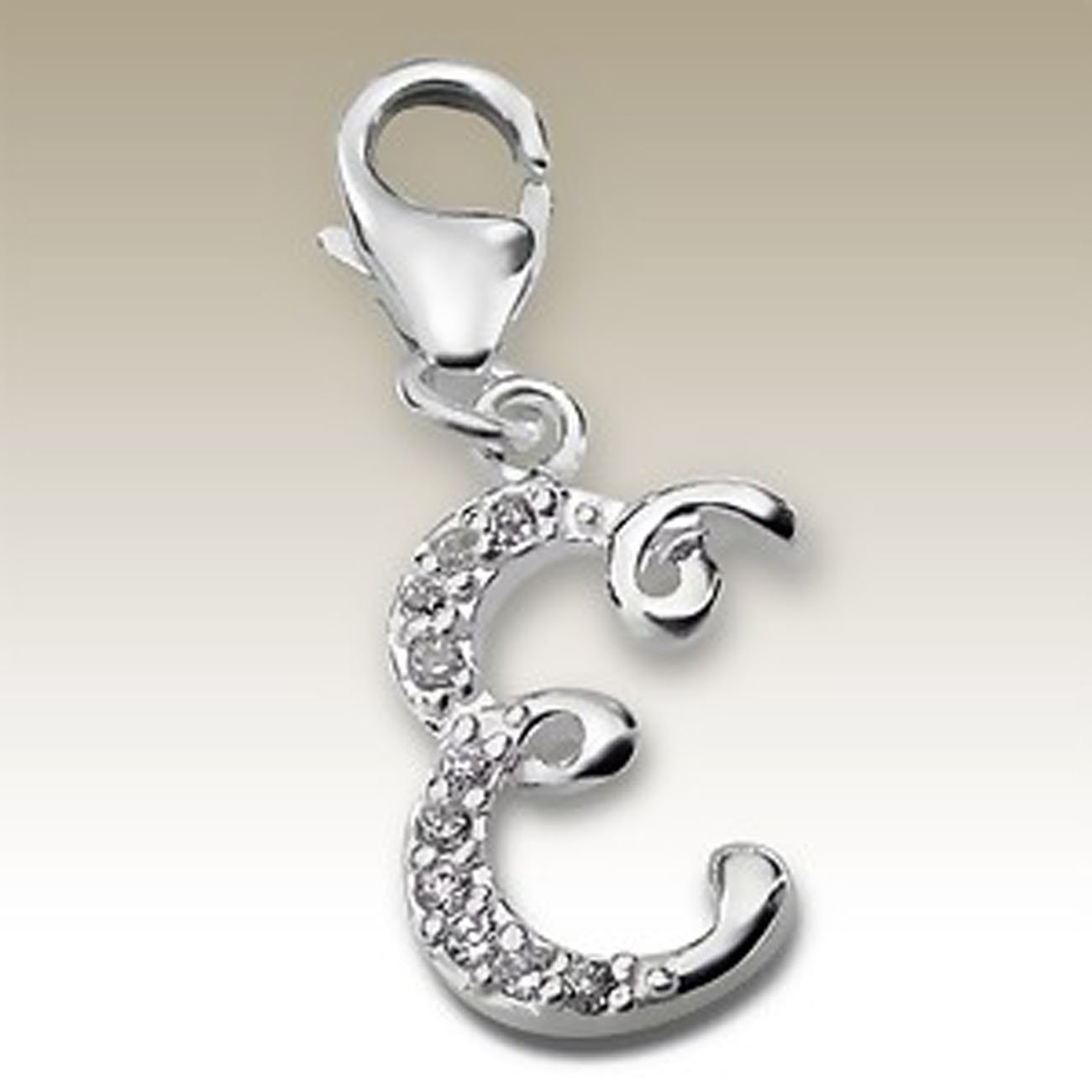 Alphabet E Charm with Lobster Clasp Sterling Silver 925 CZ Stones (E13653)