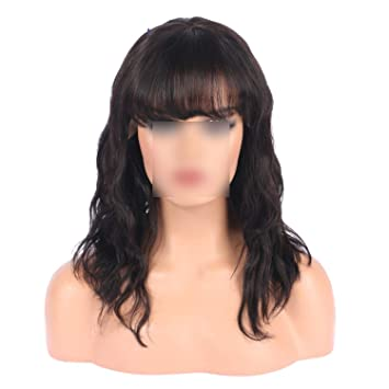 Brazilian Hair 134 Lace Front Human Hair Wigs With Bangs Wavy Short Bob For Woman Wigs