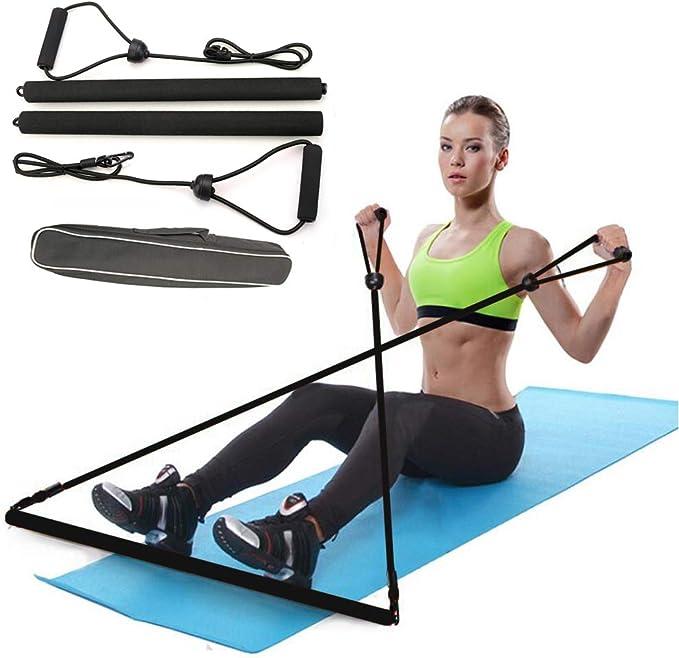 Portable Pilates Stretch Rope Gym Stick Yoga Exercise Bar Pilates Trainer Rope E