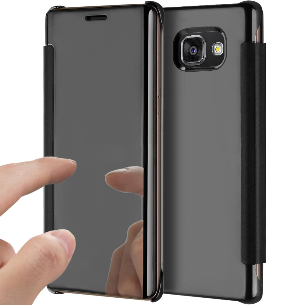 Galaxy A3 2016 Case,Galaxy A3 2016 Cover,ikasus Ultra-Slim Luxury Shock-Absorption Clear View Flip Electroplate Plating Mirror Cover Flip Protective Case Cover for Galaxy A3 (2016) A310 (4.7''),Black