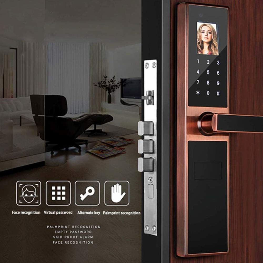 GAOPIN Combination Locks - Electronic Keyless Biometric Face, Palm-Print Recognition Smart Door Lock for Home and Apartment or Hotel etc, Red Copper,4 by GAOPIN (Image #2)
