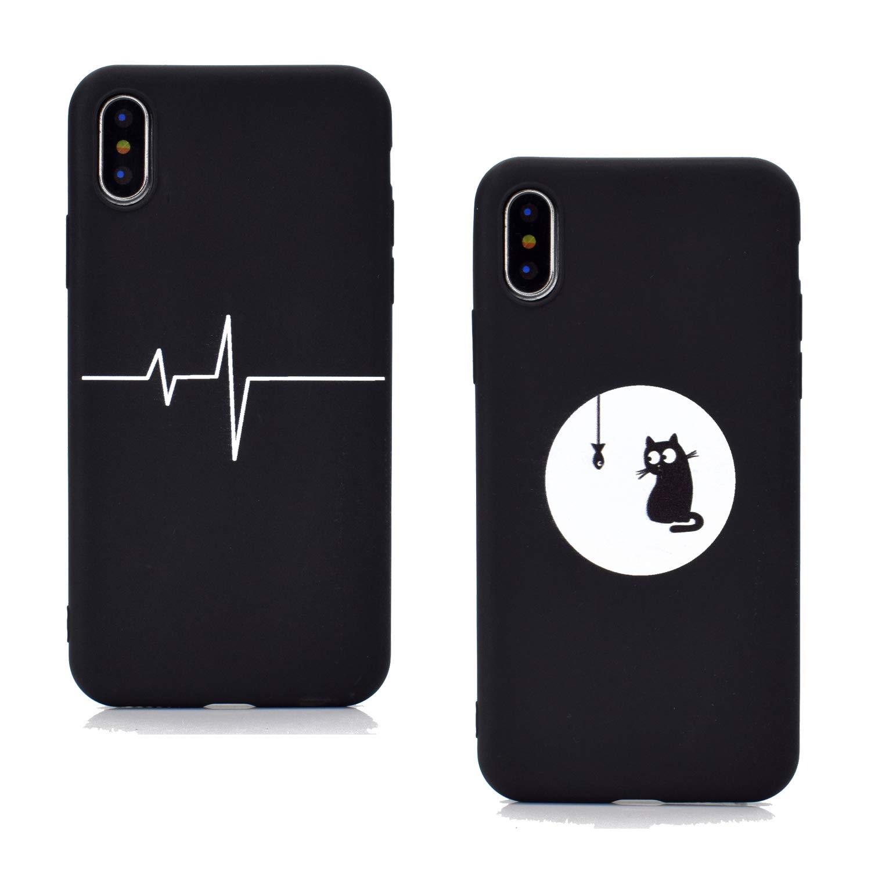 EuCase 2X Cover iPhone X Cover iPhone X Silicone Nero Ultra Sottile Morbido TPU Custodia iPhone X//XS Apple Antiurto Flessibile Protettivo Bumper Case Gatto