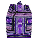 PINZON Large Unisex Hippie Backpack Canvas Rucksack Mexican Drawstring Baja Boho Aztec Girls School Bags Boys Foldable Bag Casual Daypack for Beach Unisex Bohemian Duffle bag Mexico (Purple)