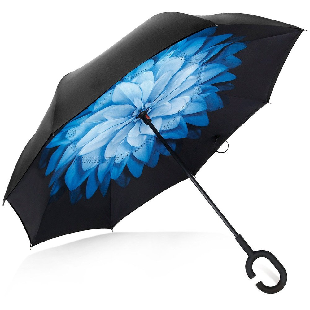 Deerbird® Ombrello per auto Doppio strato Anti - ultravioletto Con una maniglia in gomma C Forma Ombrello antivento, Per tutte le stagioni indipendente Hands-free Ombrello Inverso - Fiore blu