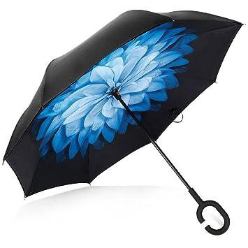 Deerbird® Coche Paraguas invertido Capa doble Anti-ultravioleta Con el tipo C Mango de