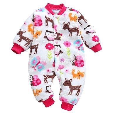 Xmiral Mameluco para Bebé Recién Nacido Saco de Dormir Infantil Mono con Estampado Leopardo Algodón Cálido