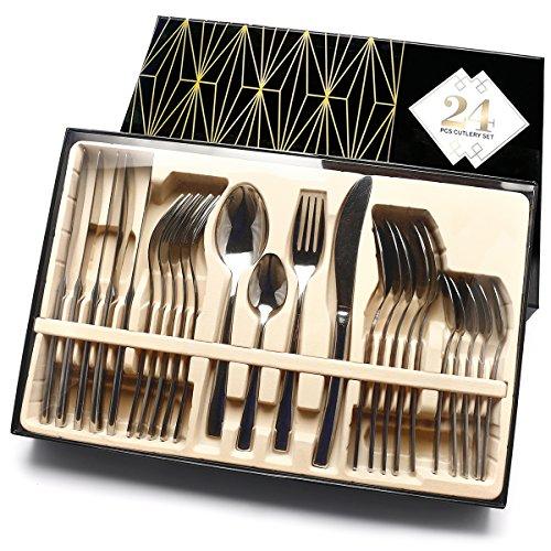 (Flatware Gift Box Set Service for 6 Stainless Steel Flatware 24 Pcs Mirror Polished Cutlery Set Tableware Utensil Knife/Fork/Spoon)