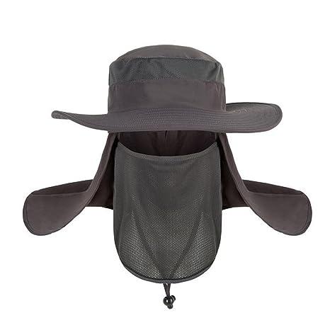 Verano Sombrero extraíble cuello cara Flap Cap al aire última intervensión  Pesca Caza Senderismo Sombrero con 5ee65892f15