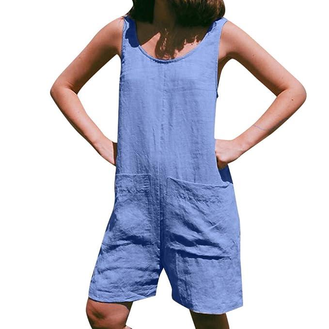 FANY - Pantalón de Tirantes para Mujer de Verano, sin Mangas Azul ...