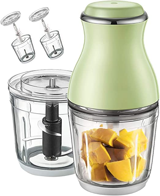 Snidii - Mini robot de cocina, robot de cocina, batidora, taza para exprimidor personal Mini Cordless de 200 W, taza de mezcla, 2 cuchillas de acero inoxidable 304 x 2 (verde): Amazon.es: Hogar