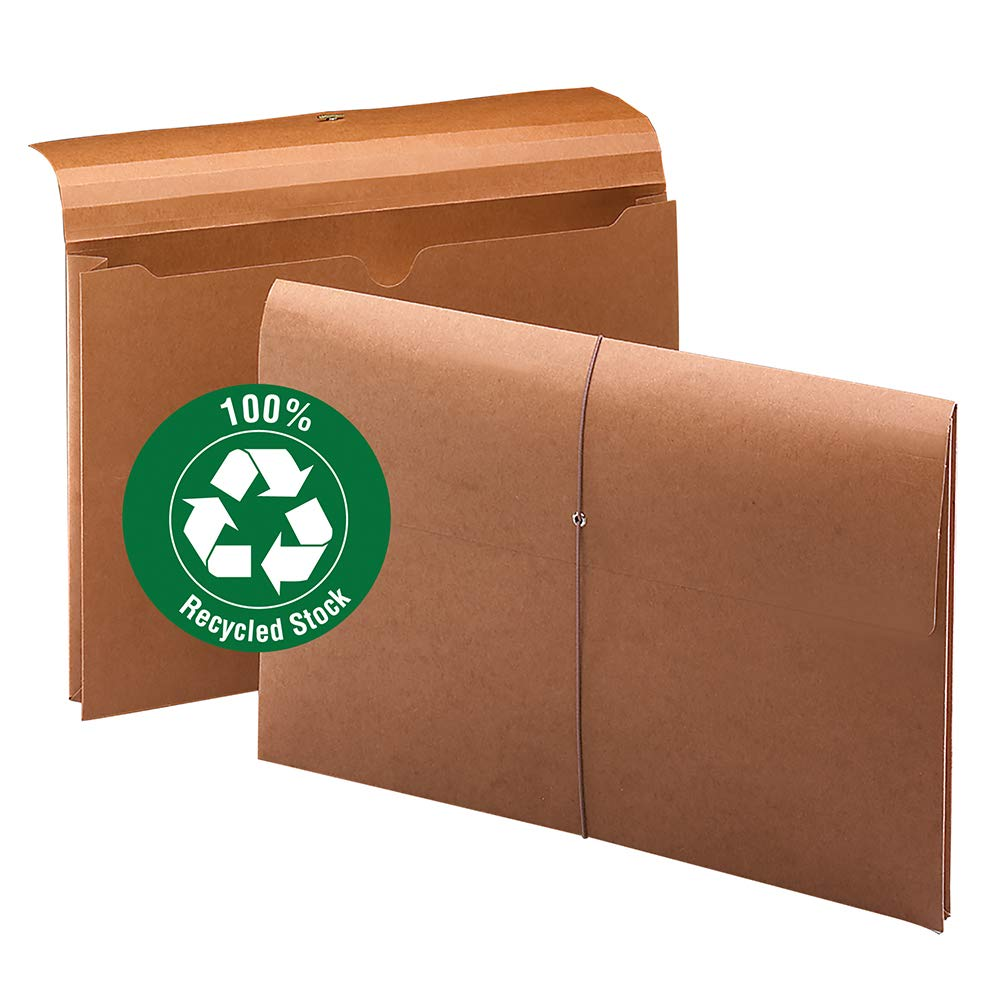 Smead 100% Recycled Expanding File Wallet with  Closure, 2'' Expansion, Legal Size, Elastic Closure, Redrope, 10 per Box (77171) by Smead