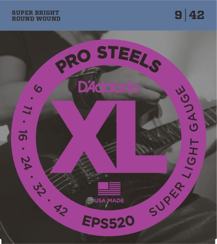 Plain Electric Guitar String (D'Addario EPS520 ProSteels Electric Guitar Strings, Super Light,)