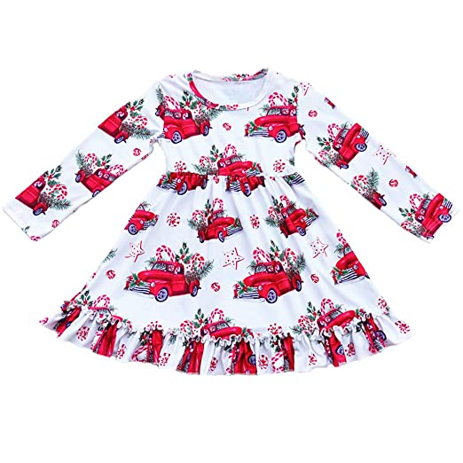 0506e8a2b70f Amazon.com  lzjlsqhyh Girls Long Sleeve Ruffle Dress Christmas Red ...