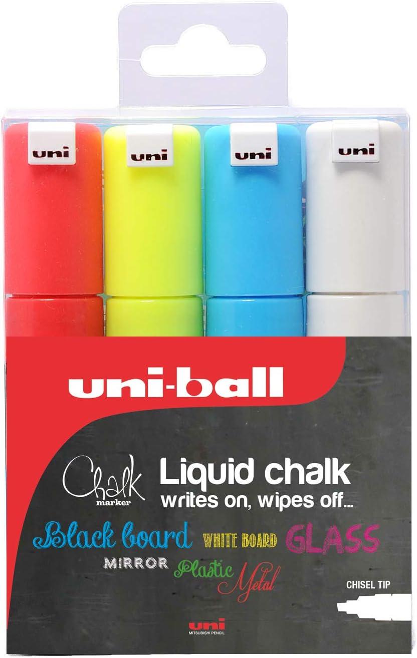 Uni Chalk Marker Blanc pwe-5m craie marqueur avec rundspitze 1,8-2,5 mm
