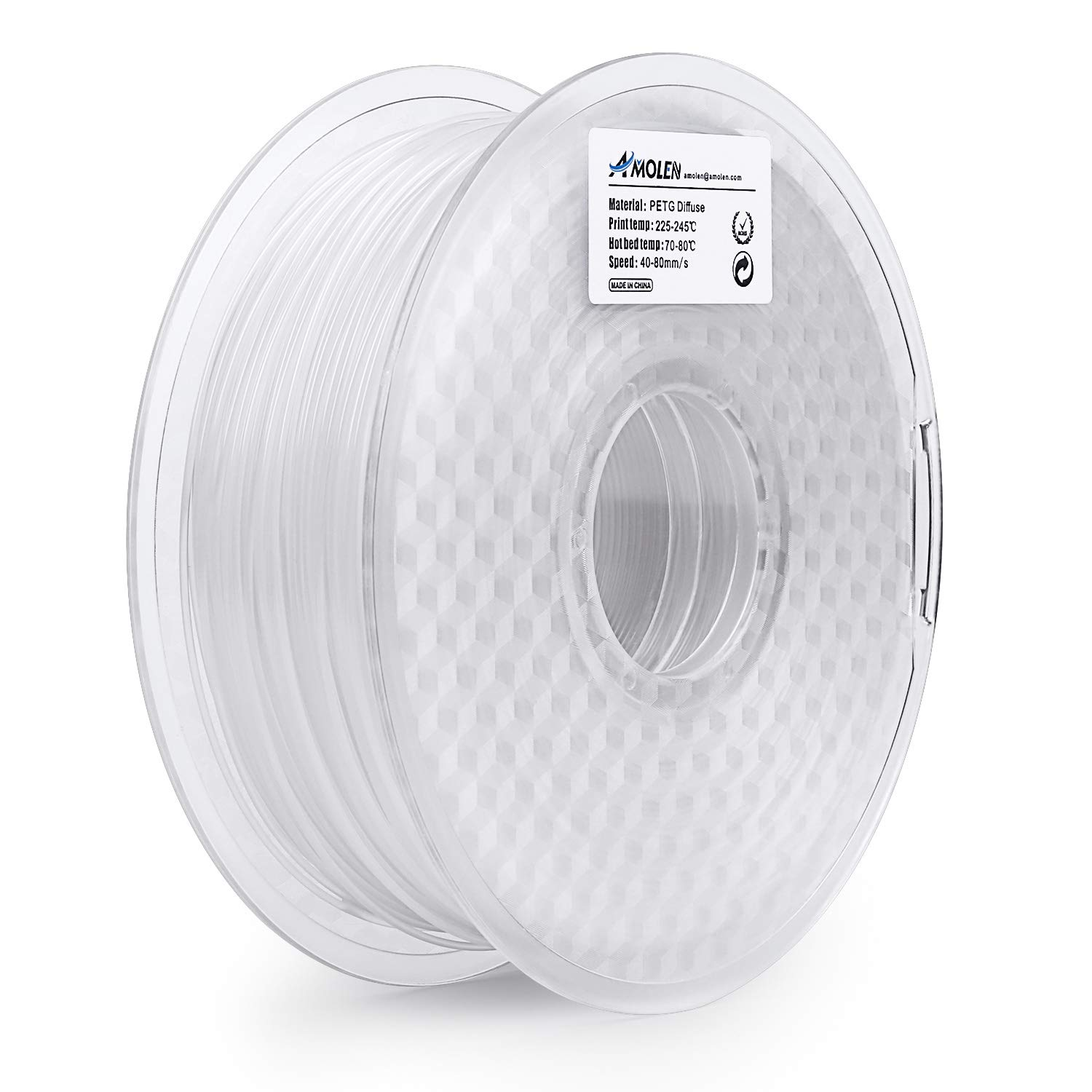 0.5LBS AMOLEN 3D Printer Filament PETG 1.75mm Green +//- 0.03 mm 225g Spool.