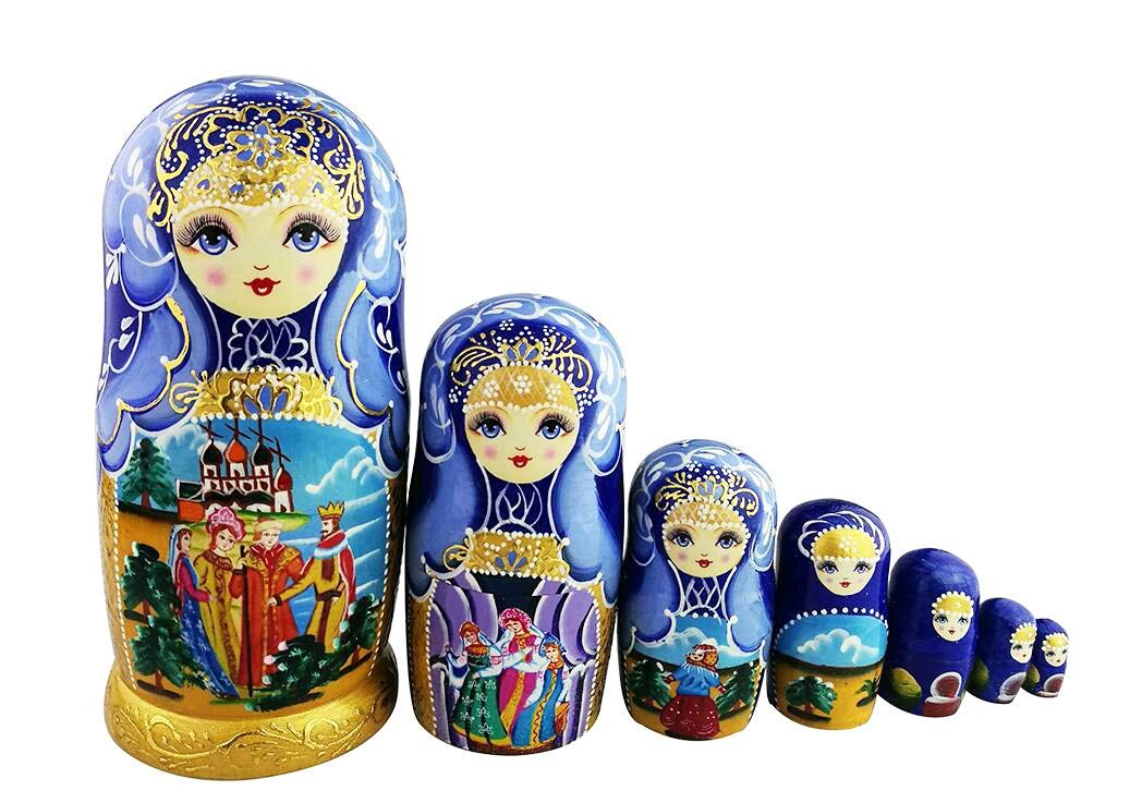 Winterworm Beautiful Blue and Gold Little Girl and Fairy Tale Pattern Handmade Wooden Traditional Russian Nesting Dolls Matryoshka Dolls Set 7 Pieces for Kids Toy Birthday Christmas Decoration