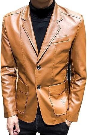 WOW- Coat Chaqueta de Cuero para Hombre - Cuello de Camisa de Color sólido Chaquetas de Primavera y otoño de 2019 Abrigos cómodos para Hombres de Negocios Casuales,Caqui,XL: Amazon.es: Hogar