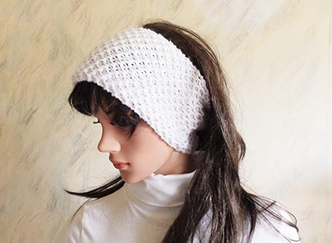 Amazon.com: Hand Knitted Wool Chunky Headband White Ear Warmer, Knit ...