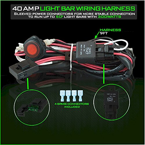 LED Light Bar Wiring Harness 12V 40 Amp Relay with Heavy ... on light bar bulbs, light bar on 4 wheeler, light bar lights, light bars for trucks, light bar battery, light bar switches, light bar bracket, light bar 24 in, light bar cover, light switch battery wiring, light bar bumper, light bar windshield, light bar headlights, light bar control box, light bar switch harness, light bar wiring labels,