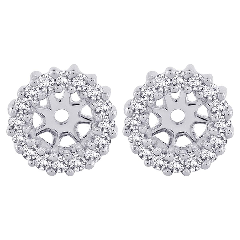 Amazon Diamond Earring Jackets in 10K White Gold 1 4 cttw