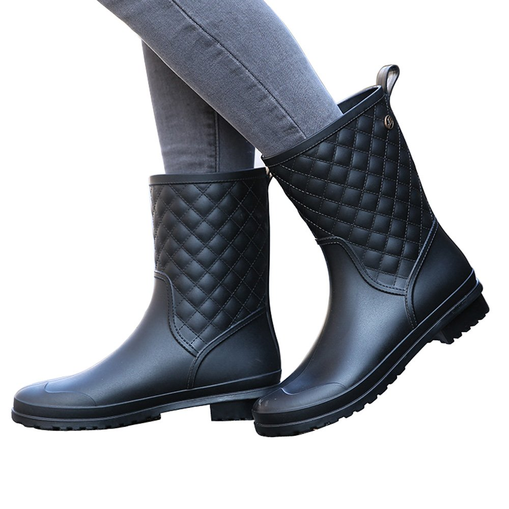 Magone Womens Block Heel Rain Boots Fashion Rain Shoes Black 7