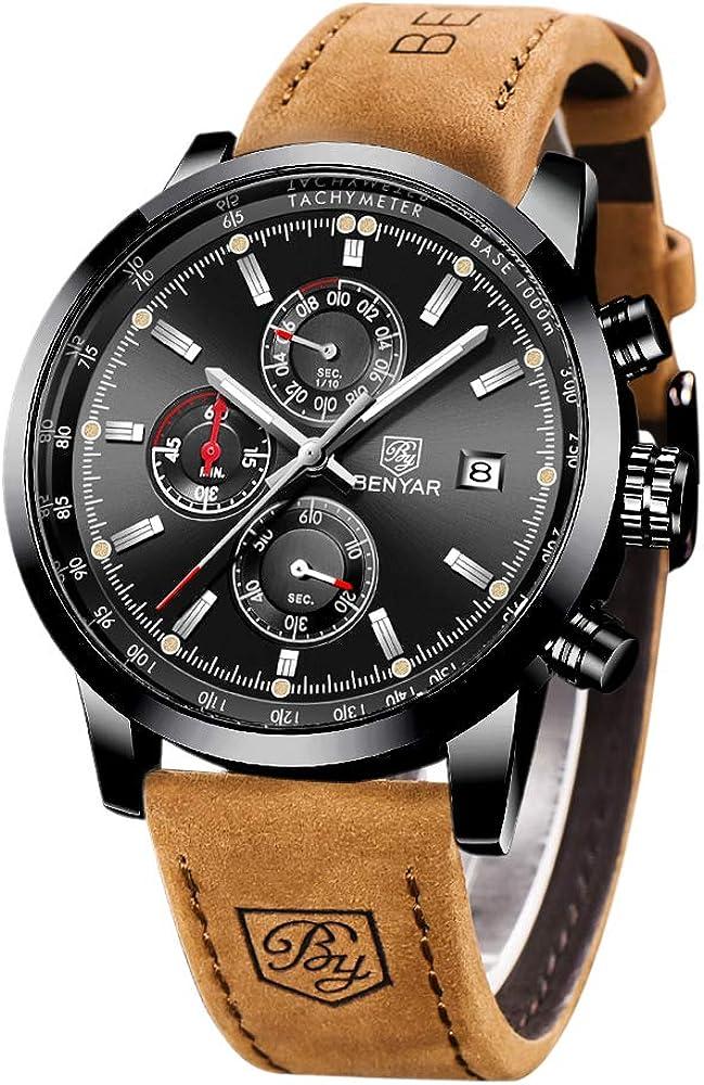BENYAR Reloj Casual de Cuarzo para Hombre Correa de Cuero marrón, cronógrafo, Resistente al Agua, con Fecha, analógico, Deportivo, Reloj para Hombre