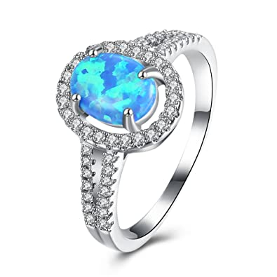 Fine Jewelry Fine Rings Platinum Diamond And Blue Opal Ring