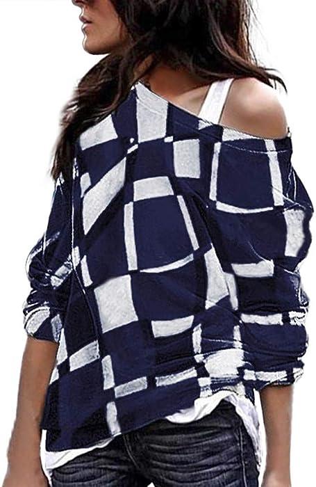 Blusas para Mujer Casual Tallas Grandes Manga Larga Color a Juego Collar Oblicuo Remiendo Tops Camisas☆Rovinci☆