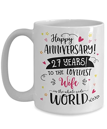 Image Unavailable. Image not available for. Color 27th Wedding Anniversary Gifts ...  sc 1 st  Amazon.com & Amazon.com: 27th Wedding Anniversary Gifts For Her - Loveliest Wife ...