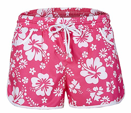 Must Rose Women Sexy Quick Dry Floral Boardshort Hot Pants Swimming Trunks Tropical Volley Beach Shorts (Small, Pink)