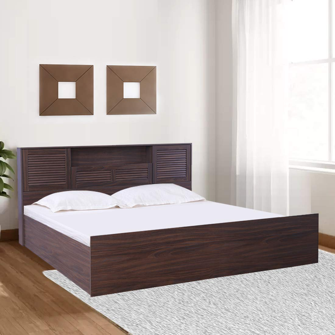 Bolton Engineered Wood Box Storage King Size Bed In Walnut