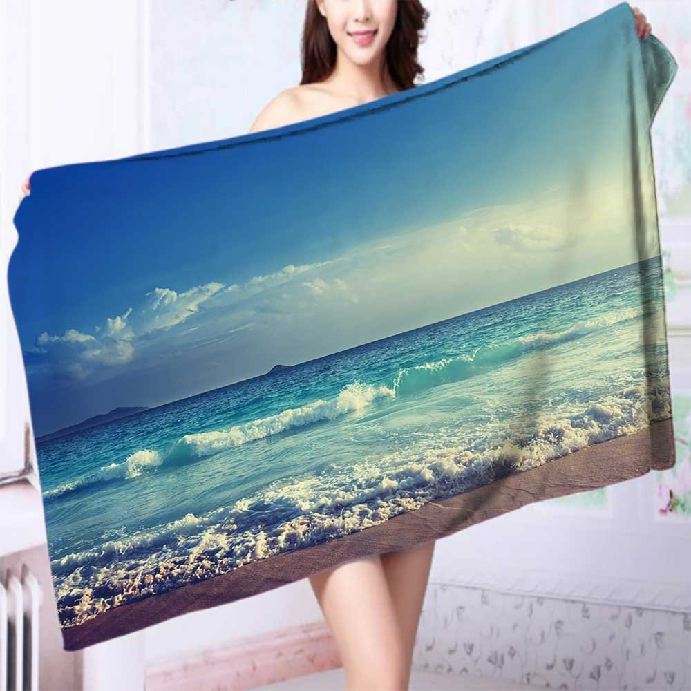 Quick dry bath towel seychelles beach in sunset time Absorbent Ideal for everyday use L63 x W31.2 INCH