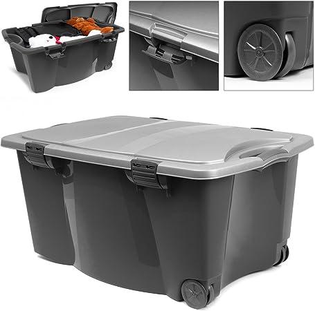 Caja de plástico de almacenaje con ruedas de 170 L, 2 asas y 4 cierres, ideal para guardar cosas de la casa o tenerla en la cochera: Amazon.es: Hogar