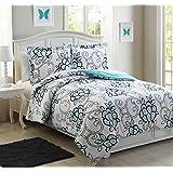 Full Microfiber Kids Hannah Aqua Reversible Comforter Set