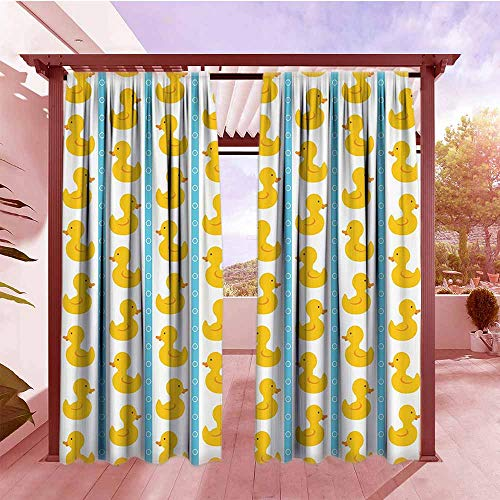 Rod Pocket Window Curtain Panel Rubber Duck Yellow Duckies with Blue Stripes and Small Circles Baby Nursery Play Toys Pattern Set of 2 Panels W108x84L Yellow and Blue ()