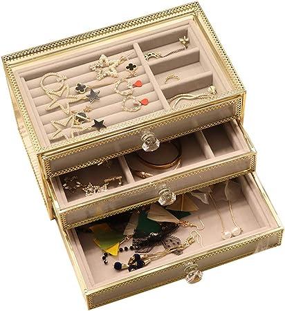 LIYANSSH - Cajas para joyas Joyero de Vidrio, Organizador de joyería de Terciopelo, Anillos de aretes Collares Pulseras Vitrina Regalo for Mujeres, niñas: Amazon.es: Hogar