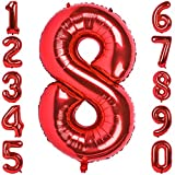 mylar number balloons - 40 Inch Large Number Balloons Red Mylar Foil Big Number 8 Giant Helium Balloon Birthday Party Decoration