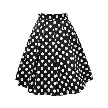 FSDFASS Faldas Falda de algodón de Verano para Mujer Negro Lunares ...