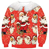 EnlaChic Women'S 3D Ugly Christmas Print Crew Neck Pullover Sweatshirt,Happy Xmas,L/XL