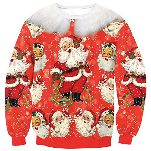 EnlaChic Women's 3D Ugly Christmas Print Crew Neck Pullover Sweatshirt,Happy Xmas,S/M