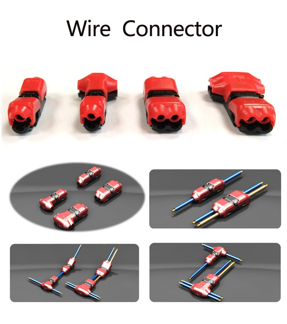 Alightings Quick Wire Splice Connector Without Stripping the Wires Compatible with 22-20 AWG Cable for Some Tight-fitting Automotive Uses by Alightings T Type 1 Pin