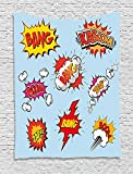 asddcdfdd Superhero Tapestry, Fantasy Heroic Speech Bubbles with Various Expression in Pop Art, Wall Hanging for Bedroom Living Room Dorm, 60 W X 80 L Inches, Light Blue Red Eart Yellow