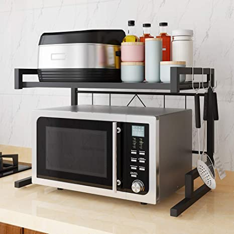 Microwave Oven Rack Kitchen Counter Storage Organizer Junyuan Countertop  Stands for Kitchens Toaster counter Storage Shelf with 3 Hooks, Save Space  ...