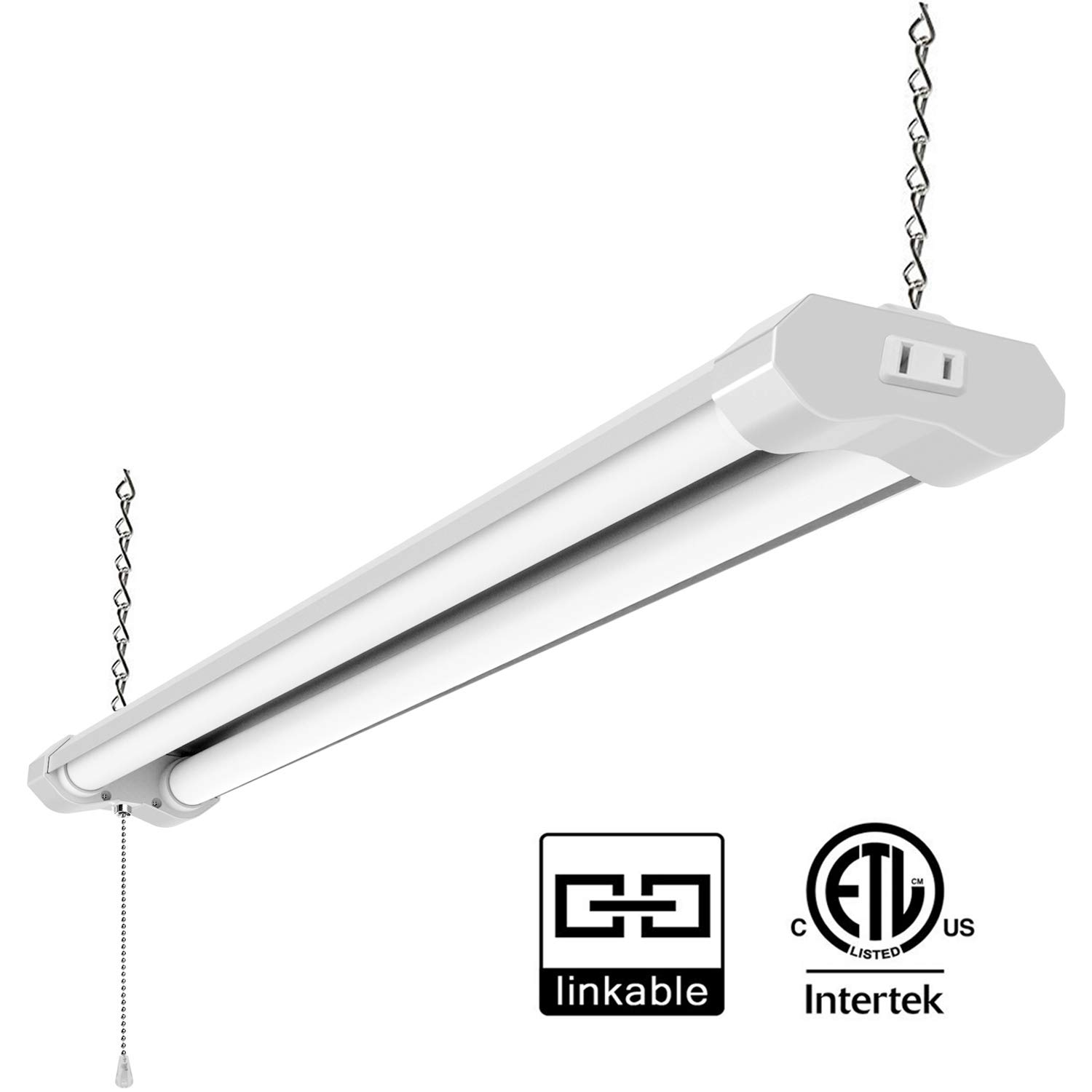Lzhome Linkable LED Shop Light for garages,4FT 4500LM,40W 5000K Daylight White, LED Wrapround Light, with Pull Chain (ON/Off),Linear Worklight Fixture with Plug (1 Pack)
