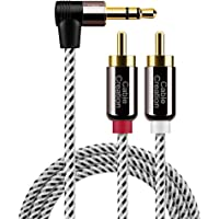 CableCreation 3.5mm to RCA Cable, 6 Feet Angle 3.5mm Male to 2RCA Male Auxiliary Stereo Audio Y Splitter Gold-Plated for Smartphones, MP3, Tablets, Speakers,Home Theater,HDTV,2m