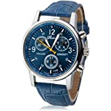 Tonsee New Luxury Fashion Crocodile Faux Leather Mens Analog Watch Watches Blue
