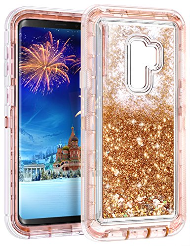 Galaxy S9 Plus Case,Wollony 360 Full Body Shockproof Liquid Glitter Quicksand Bling Case Heavy Duty Phone Bumper Non-Slip Soft Clear Rubber Protective Cover for Samsung Galaxy S9 Plus - Rose Gold