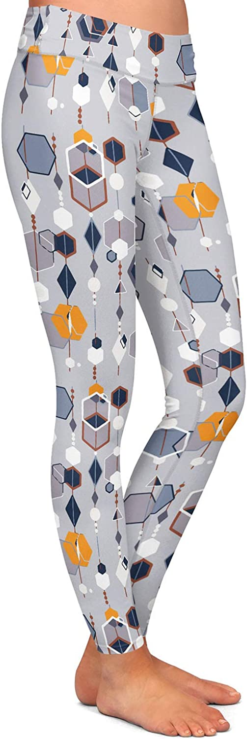 Athletic Yoga Leggings from DiaNoche Designs by Nika Martinez Mid Century Hexagons 2