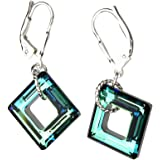 Sterling Silver Leverback Earrings Square Made with Swarovski Crystals